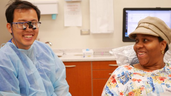 patient and dentist smiling