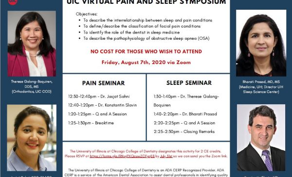 Orthodontics and Oral Medicine departments are hosting the first Virtual Pain and Sleep Symposium on Friday August 7th