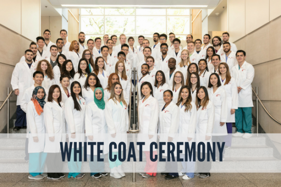 group of students in their white coats