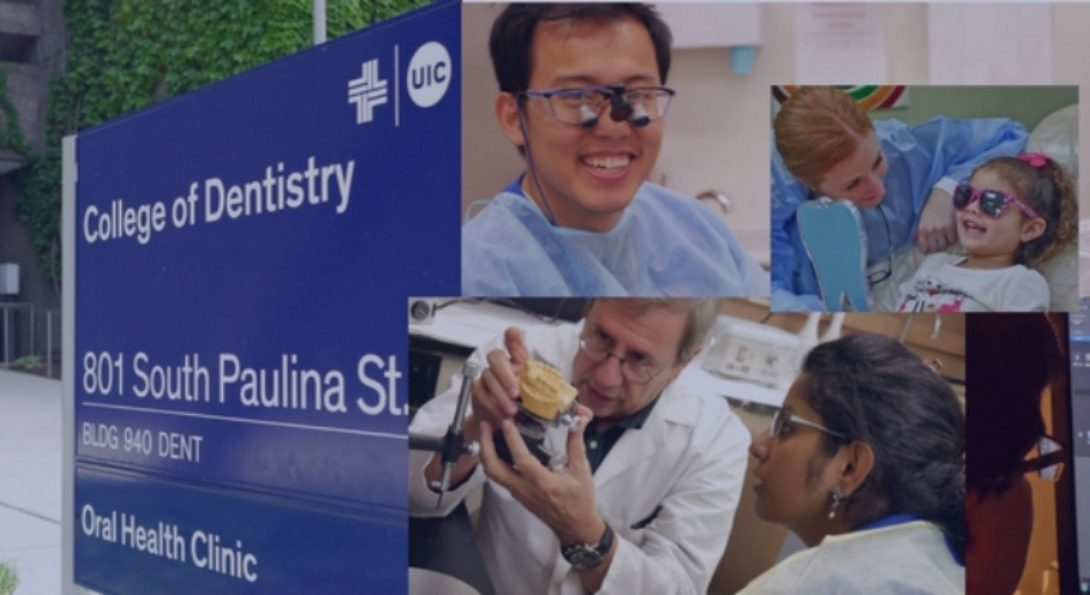 Collage of dentistry students, faculty and patients