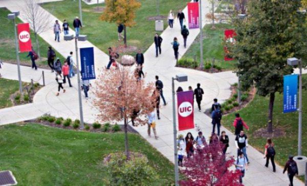 UIC campus aerial view
