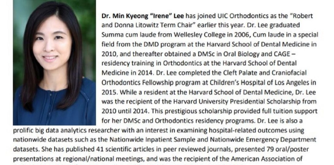 """Dr. Min Kyeong """"Irene"""" Lee joinned the UIC Department of Orthodontics"""
